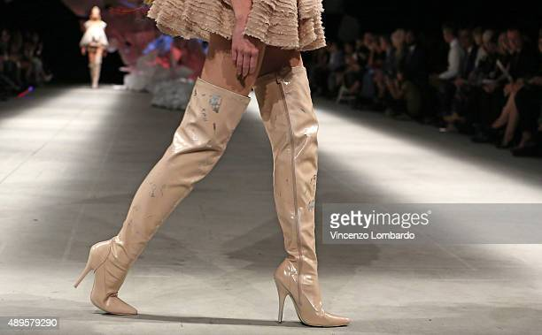 A model walks the runway shoes detail at the 80th Anniversary Of Istituto Marangoni fashion show as part of Milan Fashion Week Spring/Summer 2016 on...