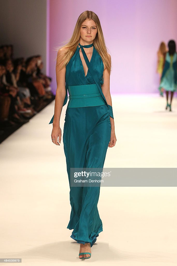 A model walks the runway showcasing designs by Aurelio Costarella at the Best of #MBFWA show at Mercedes-Benz Fashion Week Australia - Weekend Edition at Carriageworks on April 13, 2014 in Sydney, Australia.