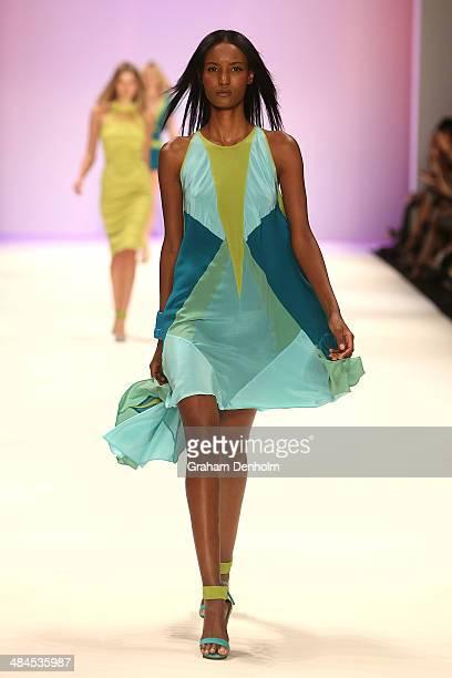 A model walks the runway showcasing designs by Aurelio Costarella at the Best of #MBFWA show at MercedesBenz Fashion Week Australia Weekend Edition...