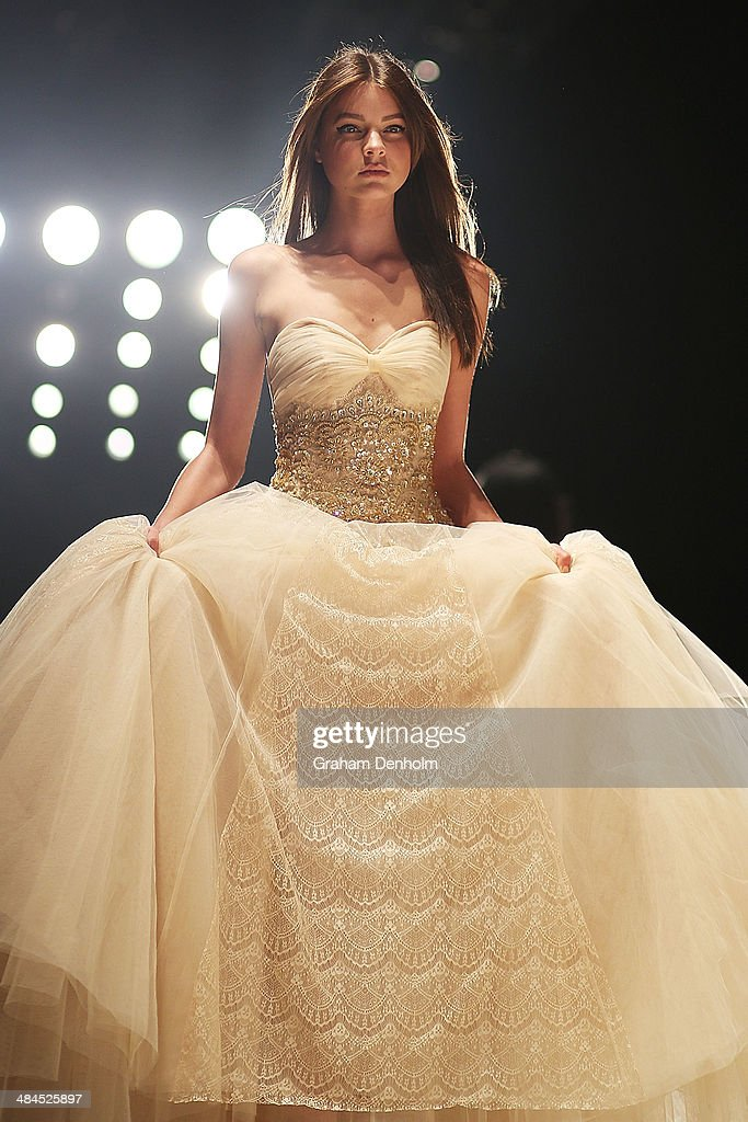 A model walks the runway showcasing designs by Betty Tran at the Best of #MBFWA show at Mercedes-Benz Fashion Week Australia - Weekend Edition at Carriageworks on April 13, 2014 in Sydney, Australia.