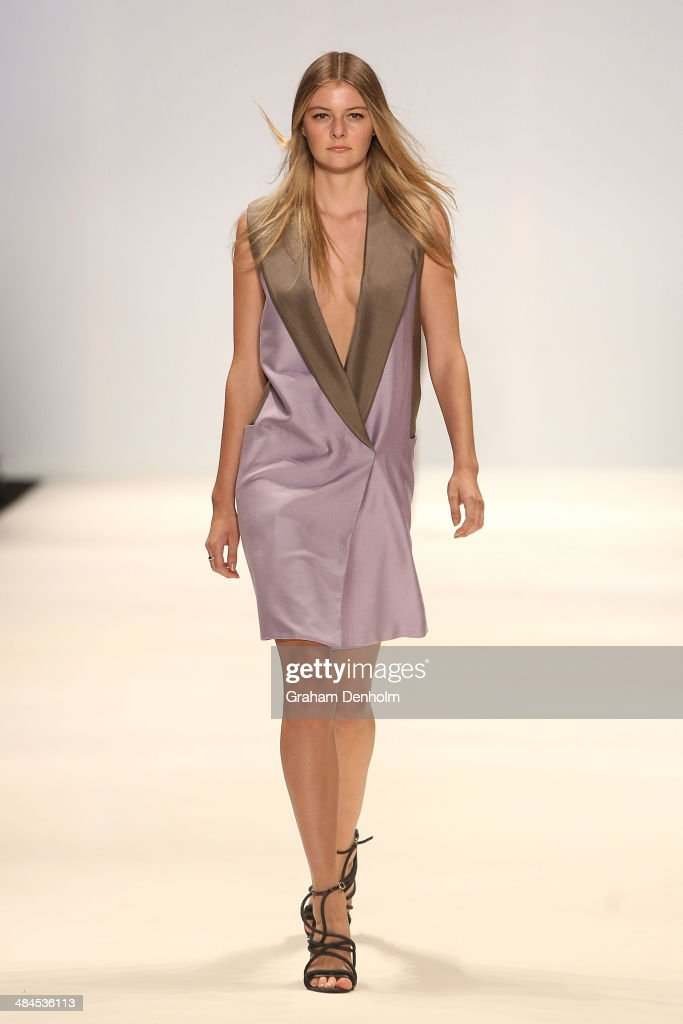 A model walks the runway showcasing designs by Bianca Spender at the Best of #MBFWA show at Mercedes-Benz Fashion Week Australia - Weekend Edition at Carriageworks on April 13, 2014 in Sydney, Australia.