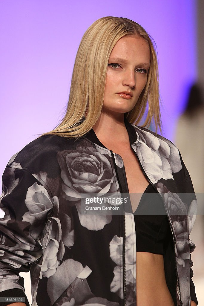 A model walks the runway showcasing designs by Cameo The Label at the Best of #MBFWA show at Mercedes-Benz Fashion Week Australia - Weekend Edition at Carriageworks on April 13, 2014 in Sydney, Australia.