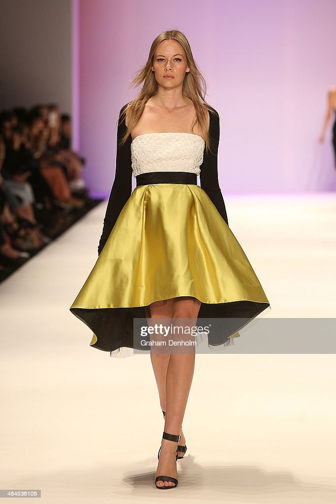 A model walks the runway showcasing designs by Carla Zampatti at the Best of #MBFWA show at Mercedes-Benz Fashion Week Australia - Weekend Edition at Carriageworks on April 13, 2014 in Sydney, Australia.
