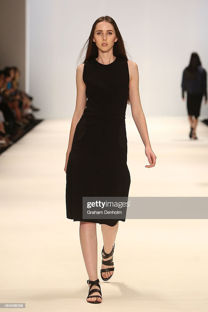 A model walks the runway showcasing designs by Dion Lee at the Best of #MBFWA show at Mercedes-Benz Fashion Week Australia - Weekend Edition at Carriageworks on April 13, 2014 in Sydney, Australia.