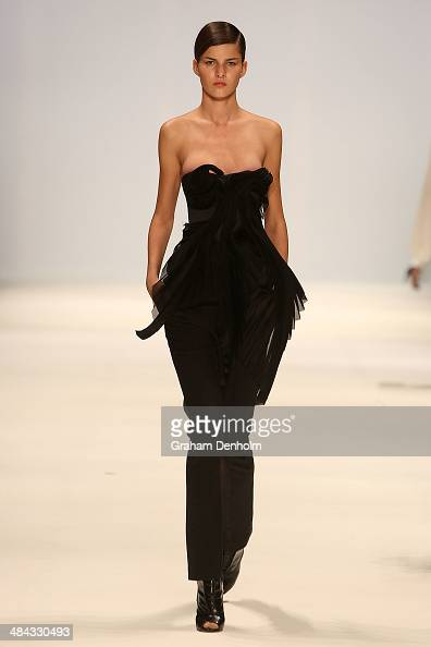 A model walks the runway showcasing designs by Ellery at the Best of #MBFWA show at MercedesBenz Fashion Week Australia Weekend Edition at...