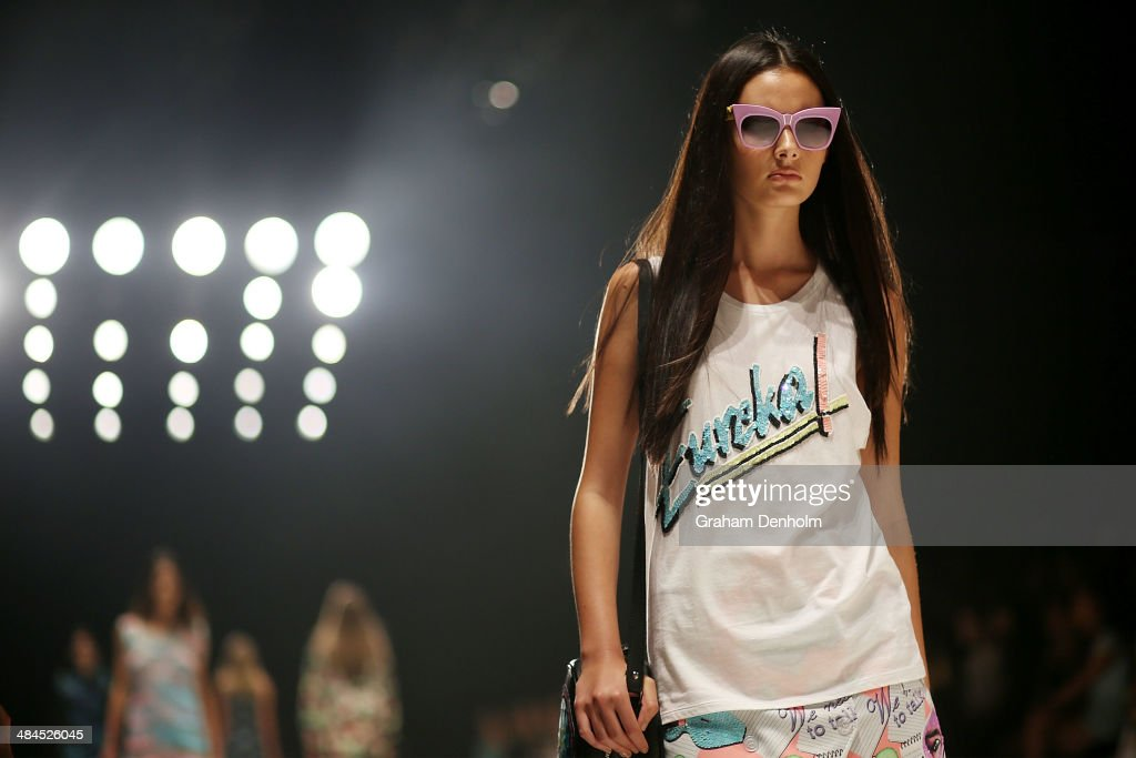 A model walks the runway showcasing designs by Emma Mulholland at the Best of #MBFWA show at Mercedes-Benz Fashion Week Australia - Weekend Edition at Carriageworks on April 13, 2014 in Sydney, Australia.