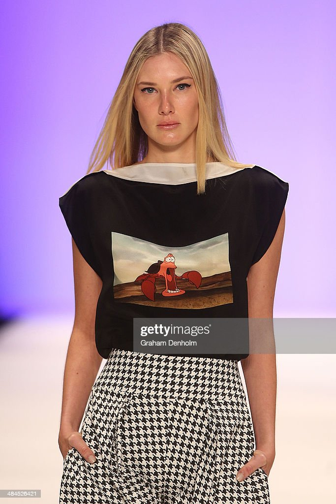 A model walks the runway showcasing designs by Gail Sorronda at the Best of #MBFWA show at Mercedes-Benz Fashion Week Australia - Weekend Edition at Carriageworks on April 13, 2014 in Sydney, Australia.