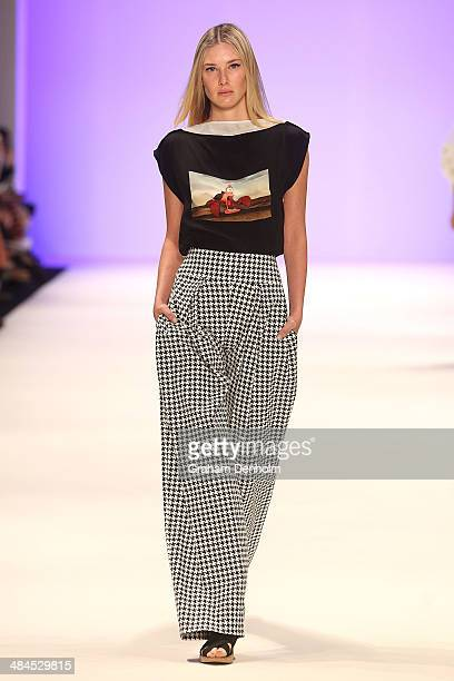 A model walks the runway showcasing designs by Gail Sorronda at the Best of #MBFWA show at MercedesBenz Fashion Week Australia Weekend Edition at...