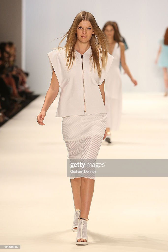 A model walks the runway showcasing designs by Ginger & Smart at the Best of #MBFWA show at Mercedes-Benz Fashion Week Australia - Weekend Edition at Carriageworks on April 13, 2014 in Sydney, Australia.