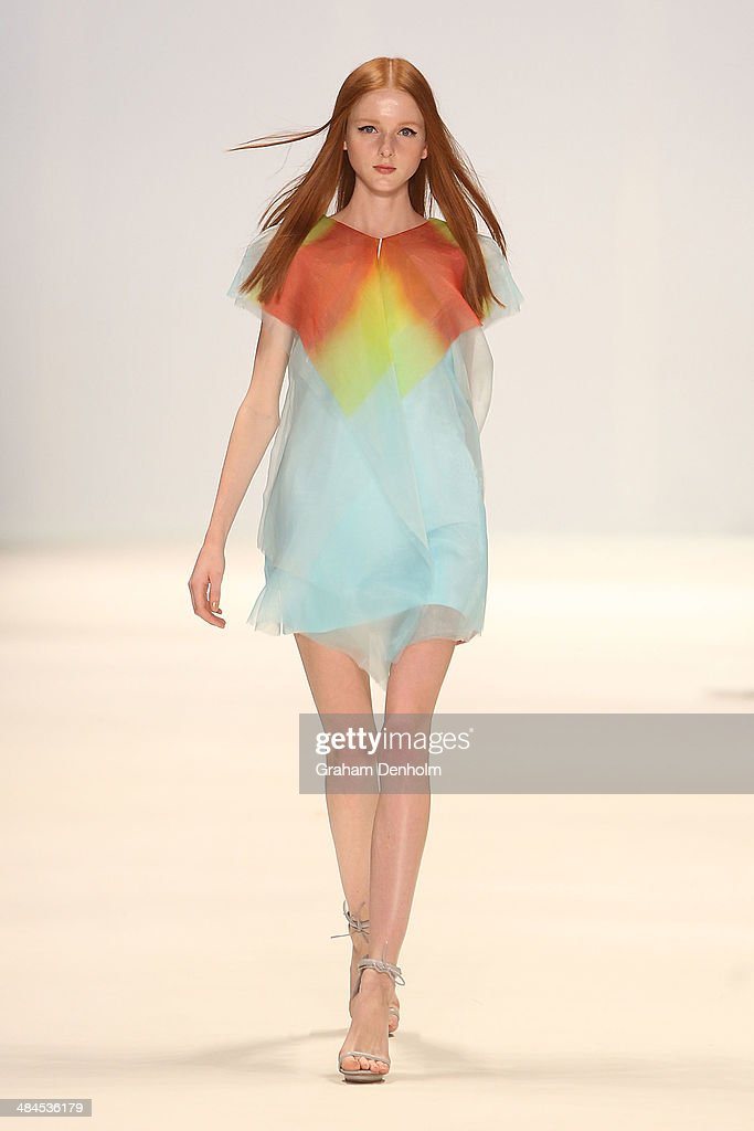 A model walks the runway showcasing designs by Haryono Setiadi at the Best of #MBFWA show at Mercedes-Benz Fashion Week Australia - Weekend Edition at Carriageworks on April 13, 2014 in Sydney, Australia.