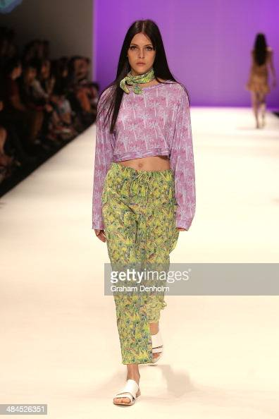 A model walks the runway showcasing designs by Hayley Elsaesser at the Best of #MBFWA show at MercedesBenz Fashion Week Australia Weekend Edition at...