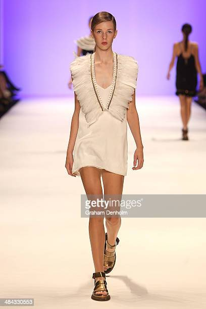 A model walks the runway showcasing designs by Ixiah at the Best of #MBFWA show at MercedesBenz Fashion Week Australia Weekend Edition at...