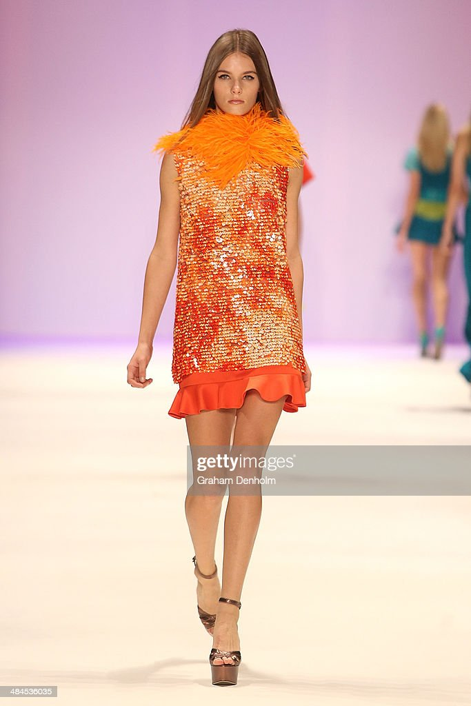 A model walks the runway showcasing designs by Jayson Brunsdon at the Best of #MBFWA show at Mercedes-Benz Fashion Week Australia - Weekend Edition at Carriageworks on April 13, 2014 in Sydney, Australia.