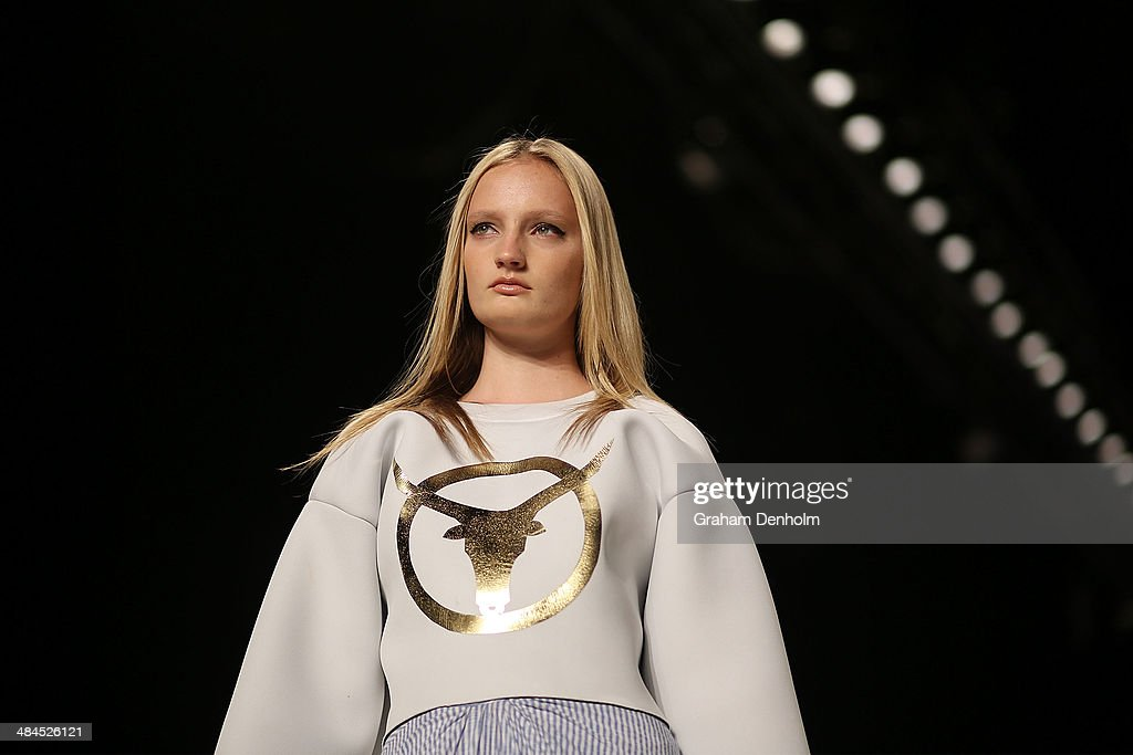 A model walks the runway showcasing designs by Phoenix Keating at the Best of #MBFWA show at Mercedes-Benz Fashion Week Australia - Weekend Edition at Carriageworks on April 13, 2014 in Sydney, Australia.