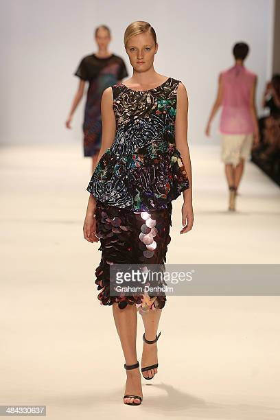 A model walks the runway showcasing designs by Romance Was Born at the Best of #MBFWA show at MercedesBenz Fashion Week Australia Weekend Edition at...