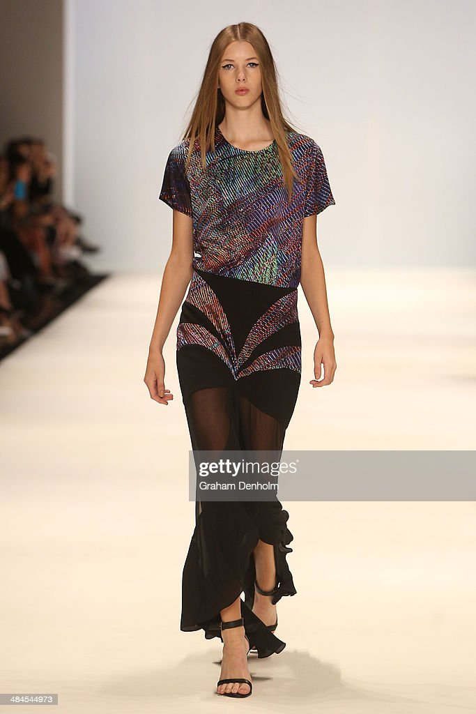 A model walks the runway showcasing designs by Romance Was Born at the Best of #MBFWA show at Mercedes-Benz Fashion Week Australia - Weekend Edition at Carriageworks on April 13, 2014 in Sydney, Australia.