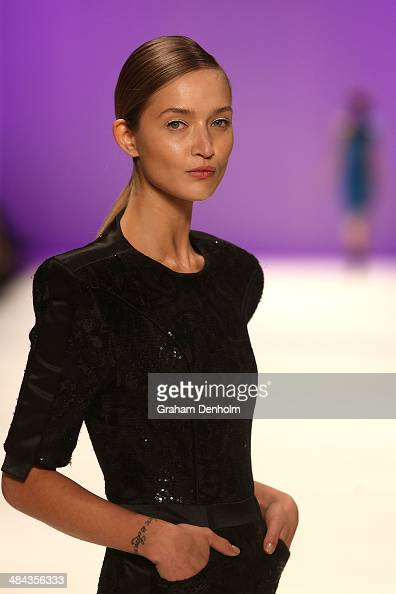 A model walks the runway showcasing designs by Zhivago at the Best of #MBFWA show at MercedesBenz Fashion Week Australia Weekend Edition at...