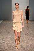 A model walks the runway the Daniel Avakian show at MercedesBenz Fashion Week Australia 2015 at Carriageworks on April 13 2015 in Sydney Australia