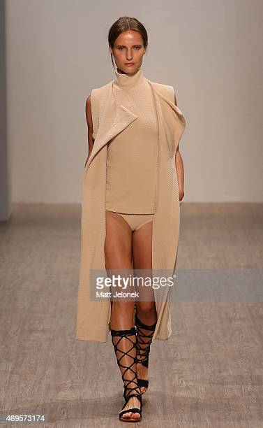 A model walks the runway the Daniel Avakian show at MercedesBenz Fashion Week Australia 2015 at Carriageworks on April 13 2015 in Sydney Australia