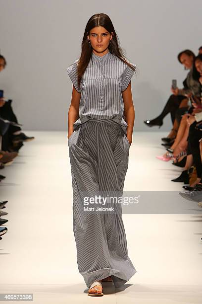 A model walks the runway the Gary Bigeni show at MercedesBenz Fashion Week Australia 2015 at Carriageworks on April 13 2015 in Sydney Australia