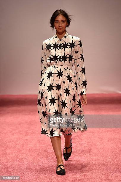 A model walks the runway the Macgraw show at MercedesBenz Fashion Week Australia 2015 at Carriageworks on April 13 2015 in Sydney Australia