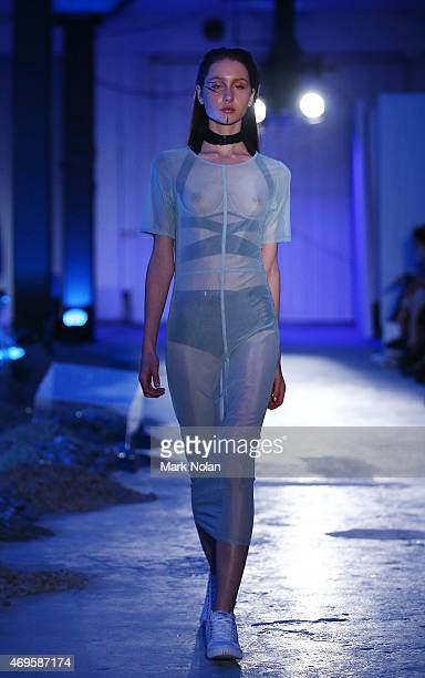 A model walks the runway the Serpent The Swan show at MercedesBenz Fashion Week Australia 2015 at Carriageworks on April 13 2015 in Sydney Australia