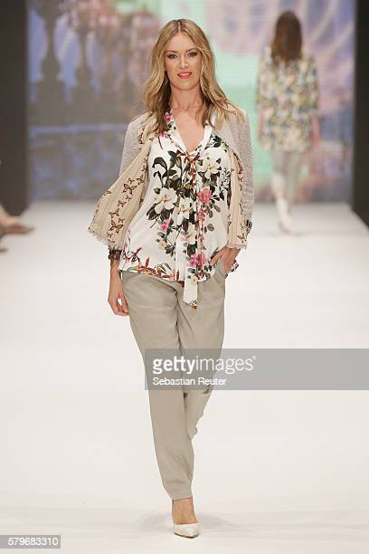 A model walks the runway the Thomas Rath show during Platform Fashion July 2016 at Areal Boehler on July 24 2016 in Duesseldorf Germany
