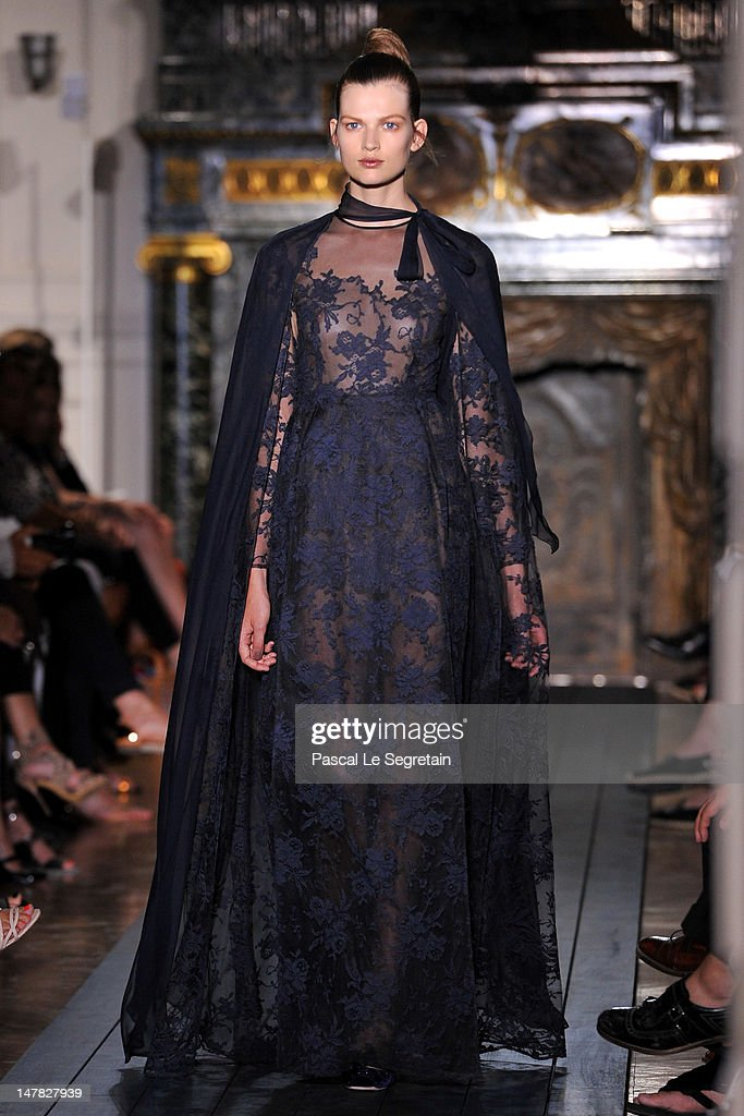 A model walks the runway the Valentino Haute-Couture show as part of Paris Fashion Week Fall / Winter 2012/13 at Hotel Salomon de Rothschild on July 4, 2012 in Paris, France.