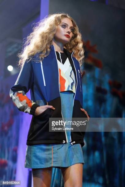 A model walks the runway wearing a creation by Akene during the 10th '48h Maisons De Mode' fashion show on September 15 2017 in Lille France