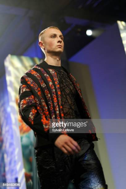 A model walks the runway wearing a creation by Aux Corps Anonymes during the 10th '48h Maisons De Mode' fashion show on September 15 2017 in Lille...