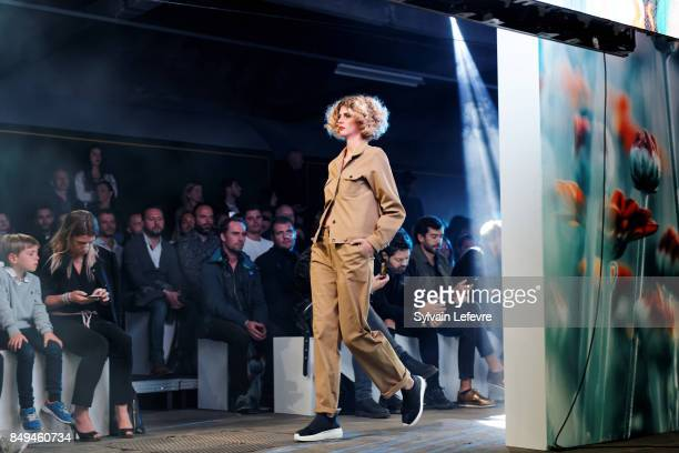 A model walks the runway wearing a creation by Clivia Nobili during the 10th '48h Maisons De Mode' fashion show on September 15 2017 in Lille France