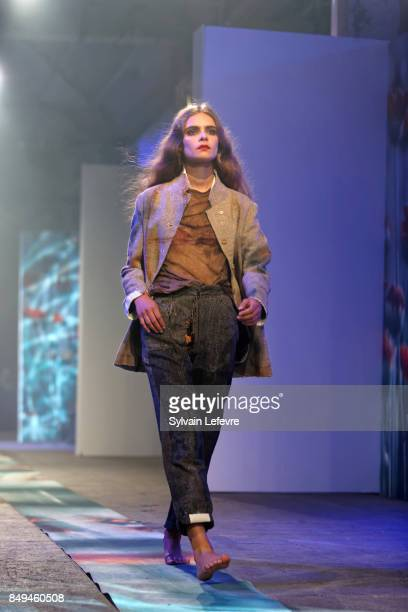 A model walks the runway wearing a creation by Karim Hadjab during the 10th '48h Maisons De Mode' fashion show on September 15 2017 in Lille France