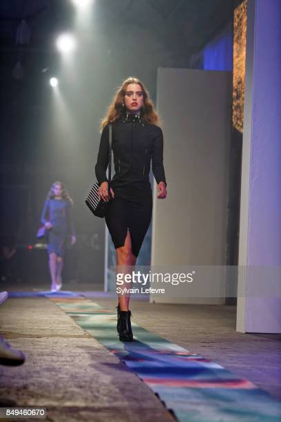 A model walks the runway wearing a creation by KSRT Studio during the 10th '48h Maisons De Mode' fashion show on September 15 2017 in Lille France