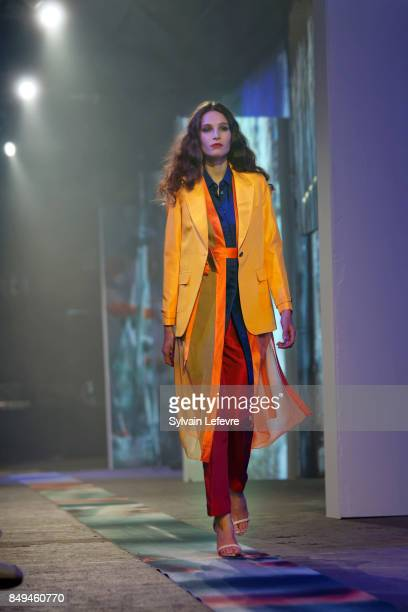A model walks the runway wearing a creation by Lucie Brochard during the 10th '48h Maisons De Mode' fashion show on September 15 2017 in Lille France