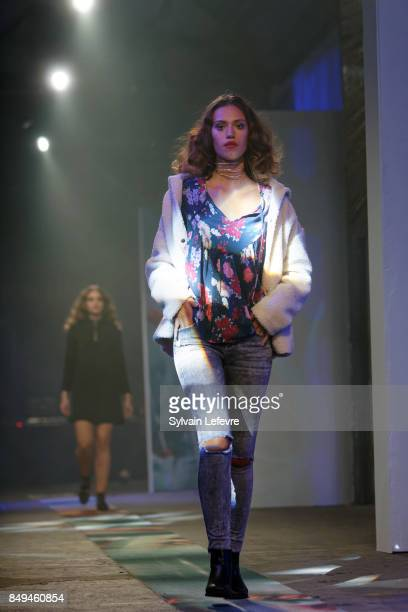 A model walks the runway wearing a creation by Not So Far during the 10th '48h Maisons De Mode' fashion show on September 15 2017 in Lille France