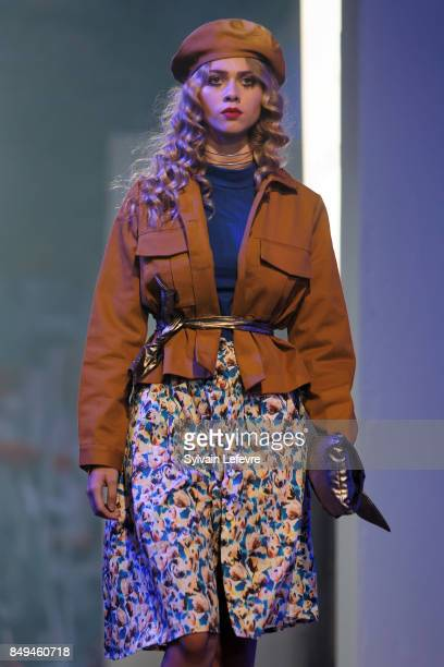 A model walks the runway wearing a creation by Oh Suzy during the 10th '48h Maisons De Mode' fashion show on September 15 2017 in Lille France