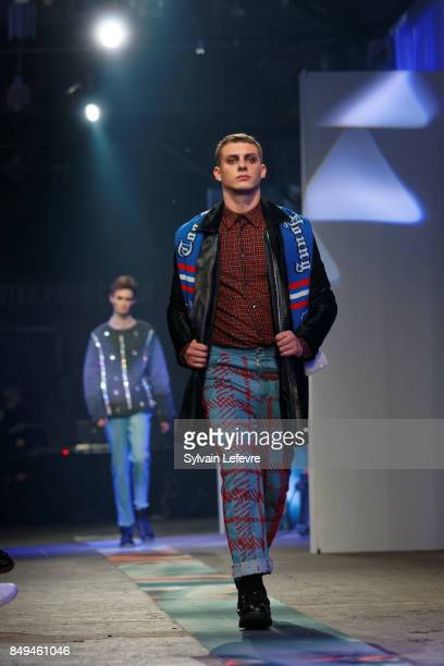 A model walks the runway wearing a creation by Rosalie Quilliet during the 10th '48h Maisons De Mode' fashion show on September 15 2017 in Lille...