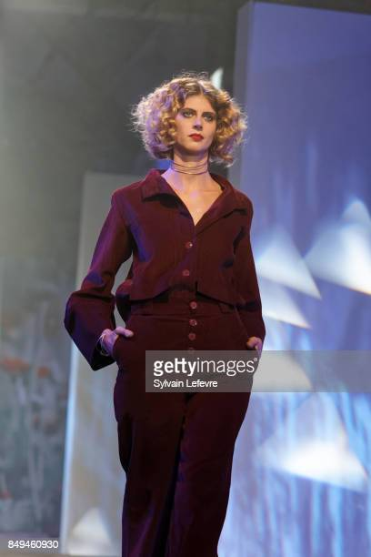 A model walks the runway wearing a creation by Uma Oath during the 10th '48h Maisons De Mode' fashion show on September 15 2017 in Lille France