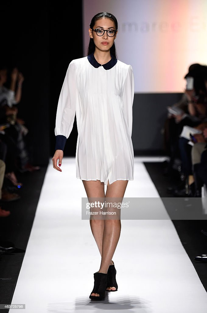 A model walks the runway wearing a design by Jamaree Eimmanassakul at the The Art Institutes fashion show during MercedesBenz Fashion Week Fall 2015...