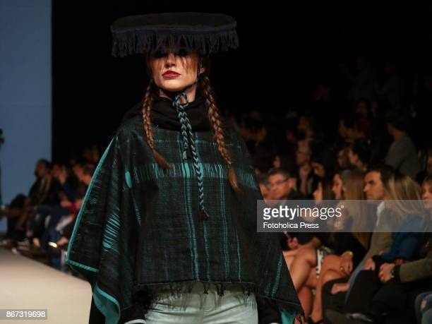 A model walks the runway wearing a design of Silvia Paredes Senepo during the last day of the Lima Fashion Week Spring/Summer 2018 LIFWEEKPV18