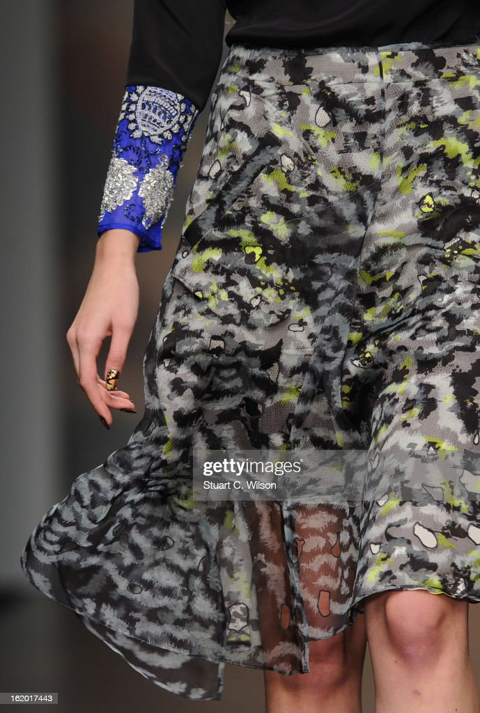 A model walks the runway wearing a nail design created by CND for Michael van der Ham at London Fashion Week Autumn/Winter 2013, BFC Courtyard Showspace on February 18, 2013 in London, England.