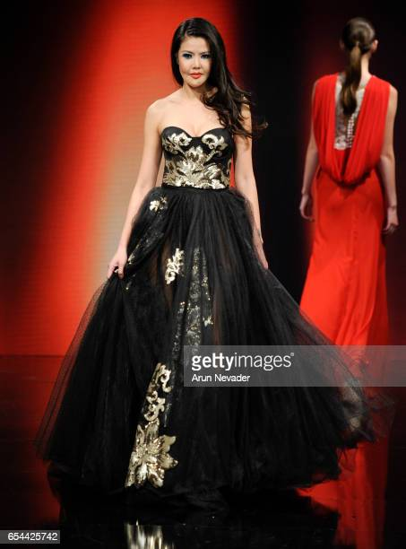 A model walks the runway wearing Albert Andrada at Art Hearts Fashion LAFW Fall/Winter 2017 Day 3 at The Beverly Hilton Hotel on March 16 2017 in...