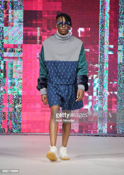 A model walks the runway wearing Alex S Yu at Vancouver Fashion Week Fall/Winter 2017 at Chinese Cultural Centre of Greater Vancouver on March 26...