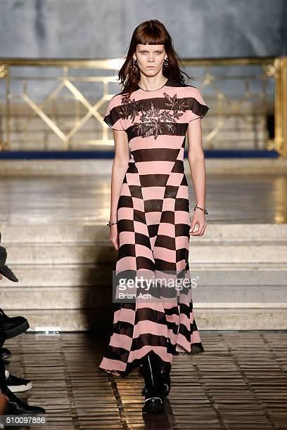 A model walks the runway wearing Alexander Wang Fall 2016 during New York Fashion Week at St Bartholomew's Church on February 13 2016 in New York City