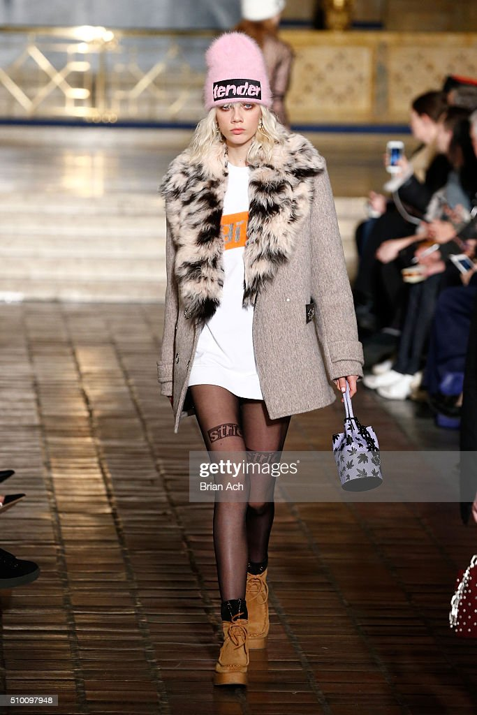 A model walks the runway wearing Alexander Wang Fall 2016 during New York Fashion Week at St. Bartholomew's Church on February 13, 2016 in New York City.