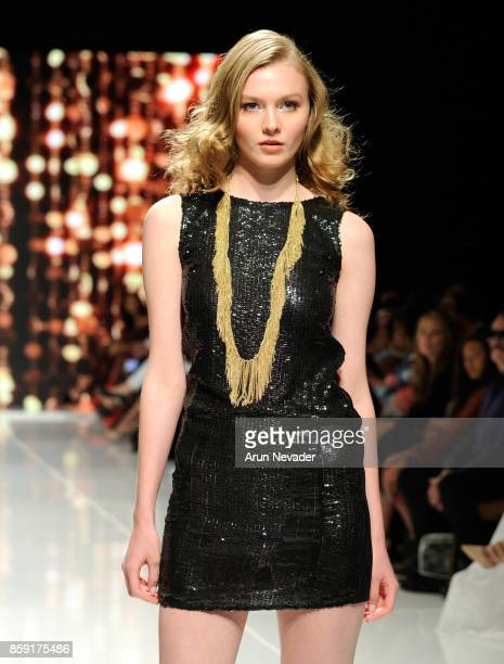 A model walks the runway wearing Alina Petra at Los Angeles Fashion Week SS18 Art Hearts Fashion LAFW on October 8 2017 in Los Angeles California
