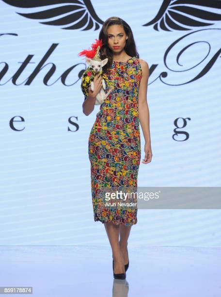A model walks the runway wearing Anthony Rubio at Los Angeles Fashion Week SS18 Art Hearts Fashion LAFW on October 8 2017 in Los Angeles California