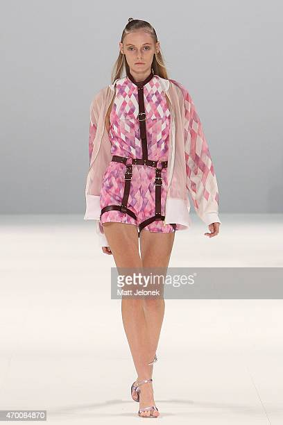 A model walks the runway wearing Any Step during the Raffles International Showcase show at MercedesBenz Fashion Week Australia 2015 at Carriageworks...