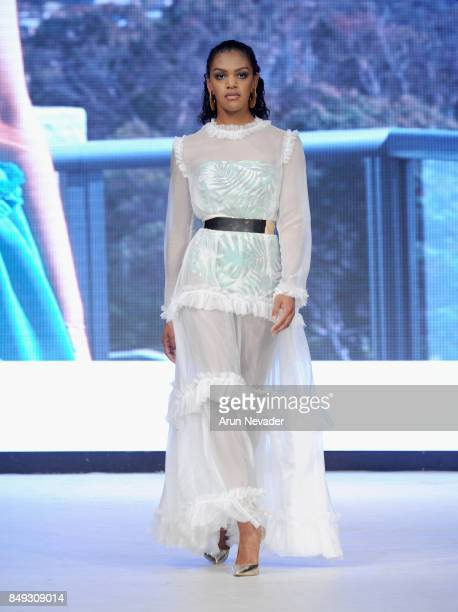 A model walks the runway wearing at 2017 Vancouver Fashion Week Day 1 on September 18 2017 in Vancouver Canada