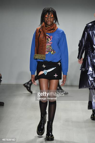 A model walks the runway wearing Atelier Wonder fall 2015 collection during World MasterCard Fashion Week Fall 2015 at David Pecaut Square on March...